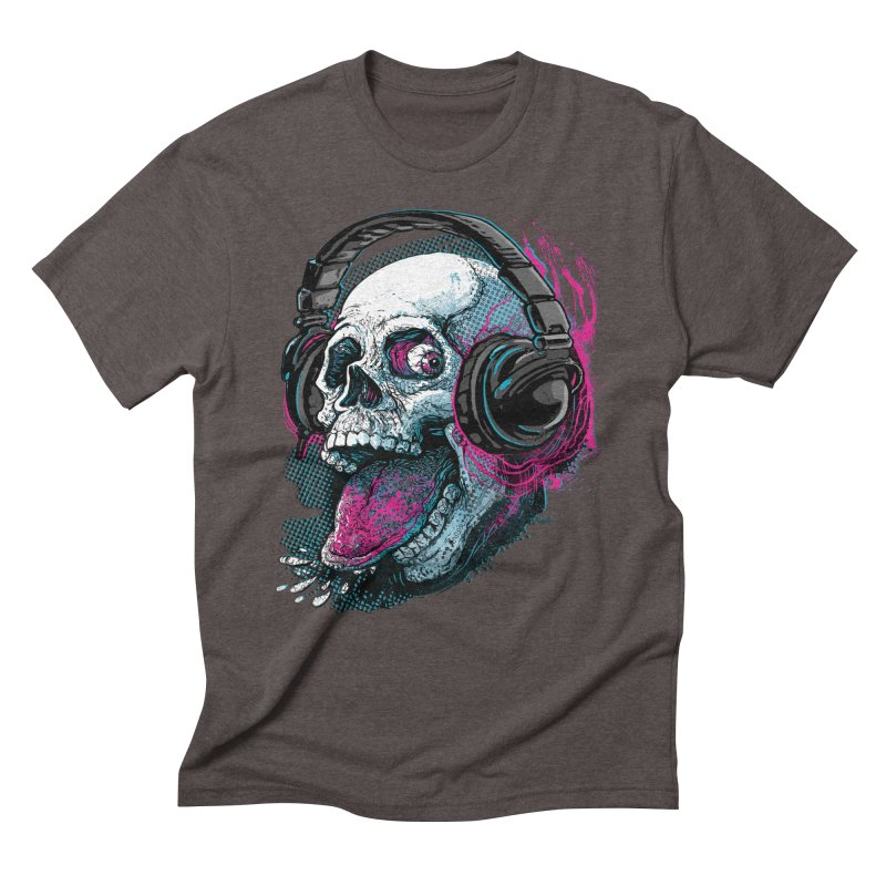 Skull Raspberry With Headphones Men's Triblend T-shirt by Mudge Studios