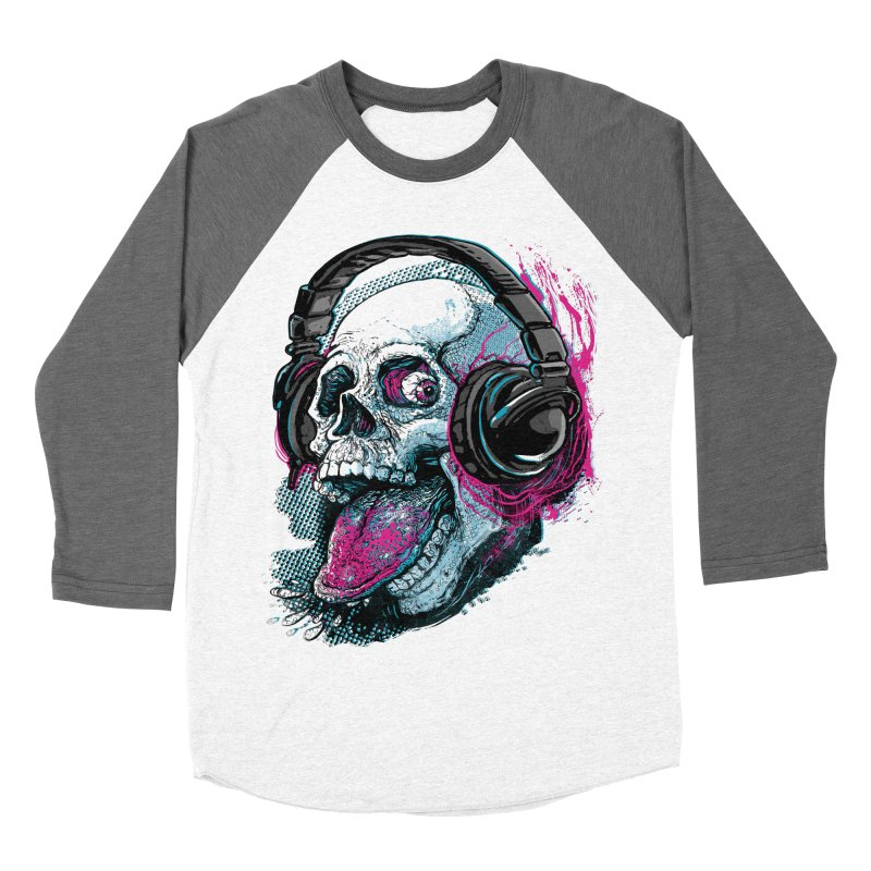 Skull Raspberry With Headphones Men's Baseball Triblend Longsleeve T-Shirt by Mudge Studios