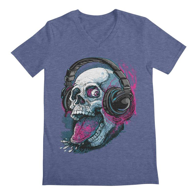 Skull Raspberry With Headphones Men's V-Neck by Mudge Studios