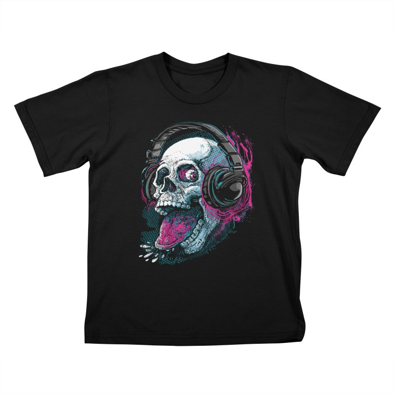 Skull Raspberry With Headphones Kids T-Shirt by Mudge Studios