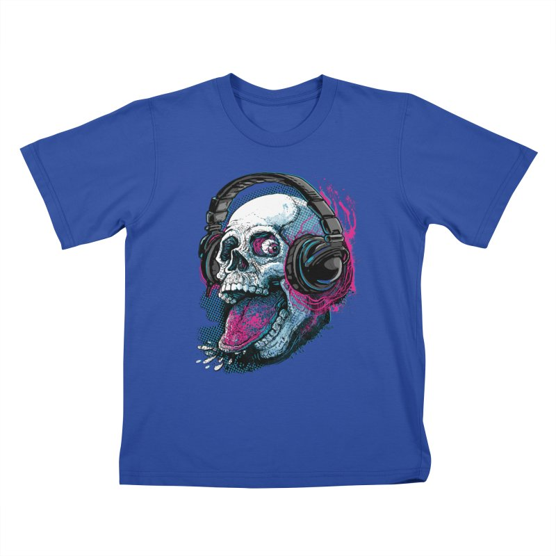 Skull Raspberry With Headphones Kids T-Shirt by Mudge Studios