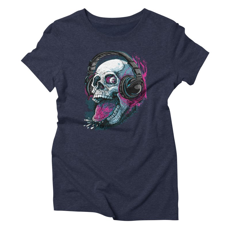 Skull Raspberry With Headphones Women's Triblend T-Shirt by Mudge Studios