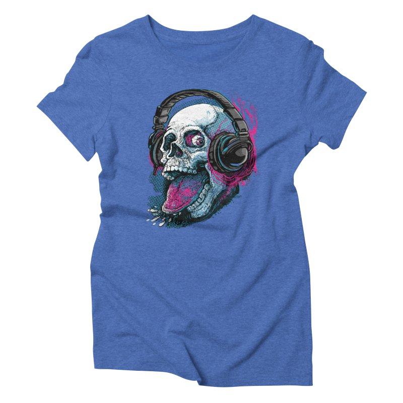 Skull Raspberry With Headphones Women's Triblend T-Shirt by Mudge Studios