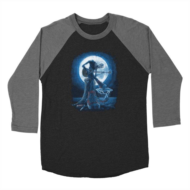 Full Moon Guitarist Blues Women's Baseball Triblend Longsleeve T-Shirt by Mudge Studios