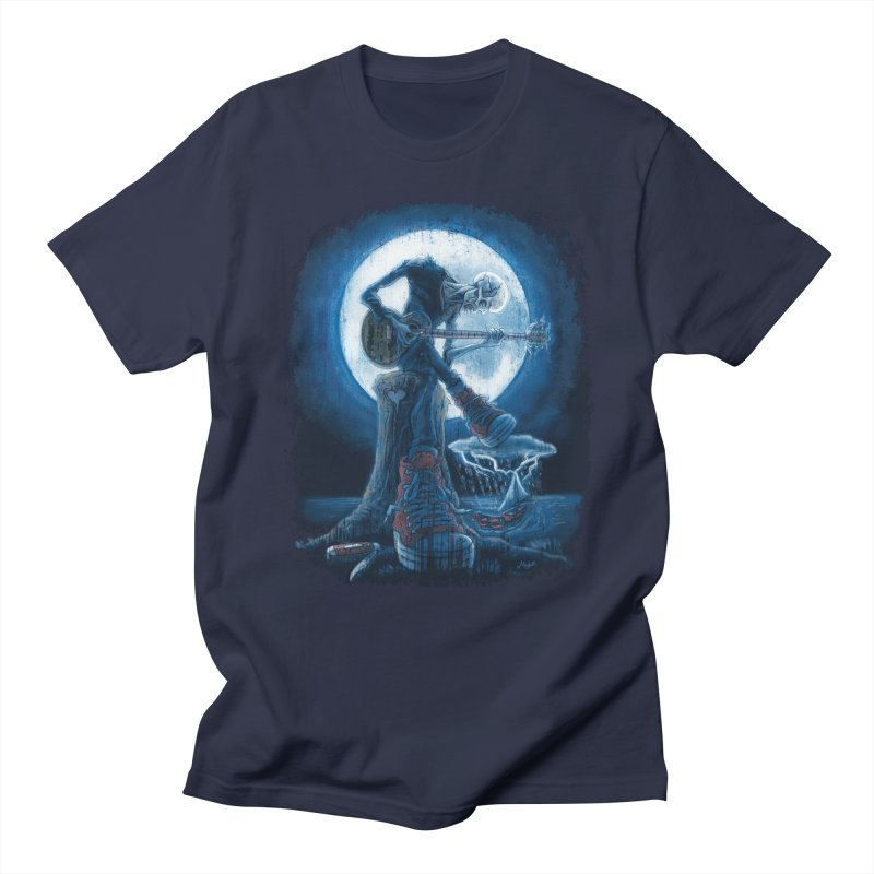 Full Moon Guitarist Blues Men's Regular T-Shirt by Mudge Studios