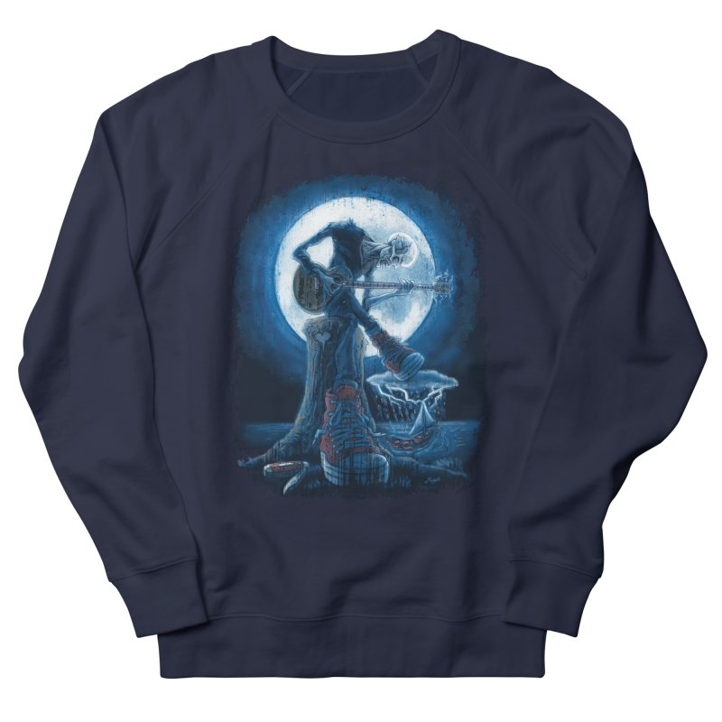 Full Moon Guitarist Blues Men's French Terry Sweatshirt by Mudge Studios