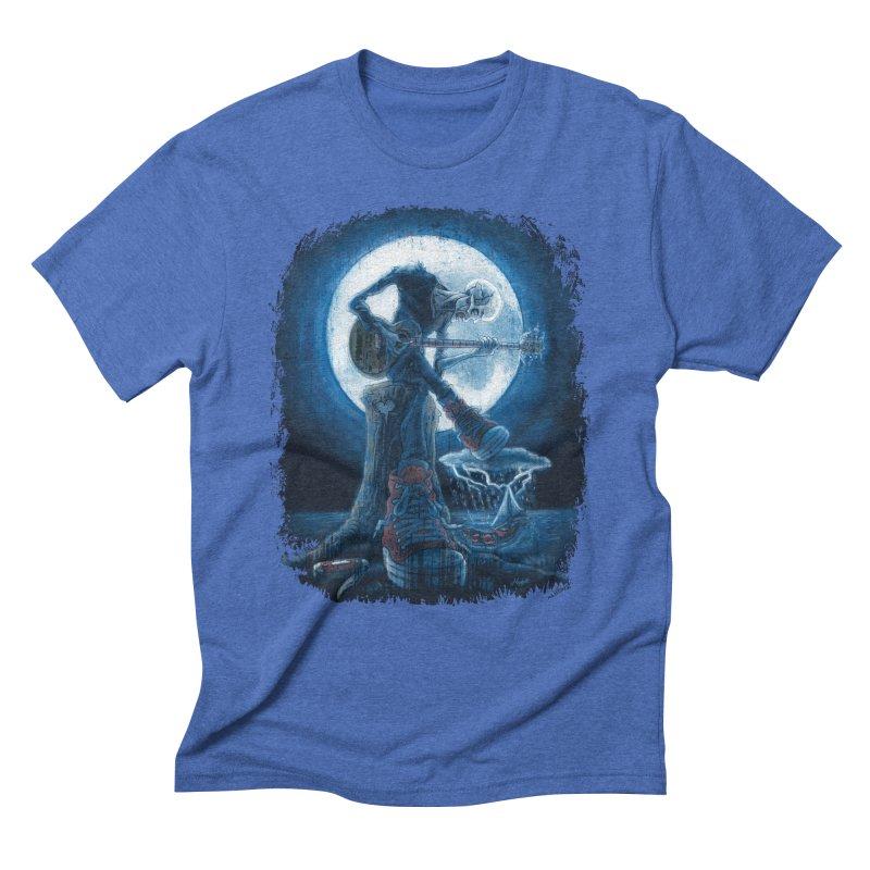 Full Moon Guitarist Blues Men's Triblend T-Shirt by Mudge Studios