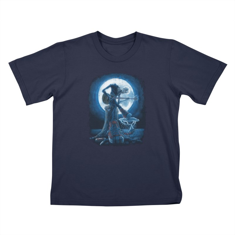 Full Moon Guitarist Blues Kids T-Shirt by Mudge Studios