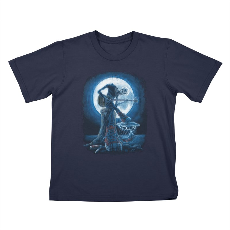 Full Moon Guitarist Blues Kids T-Shirt by Mudge Studios