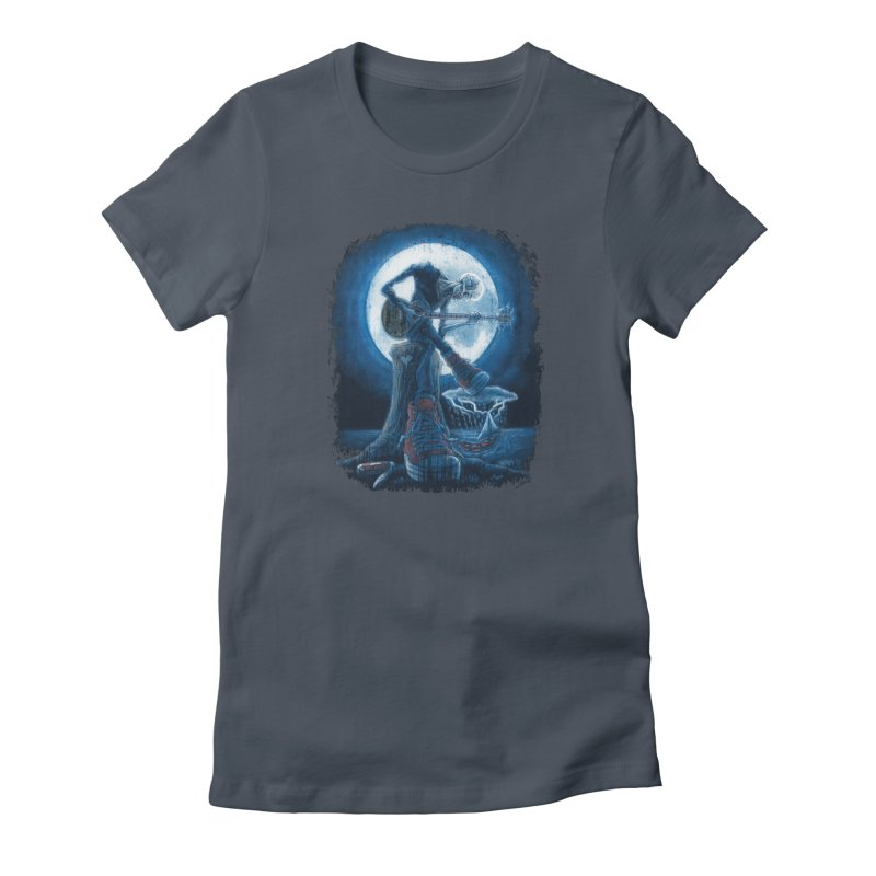 Full Moon Guitarist Blues Women's T-Shirt by Mudge Studios