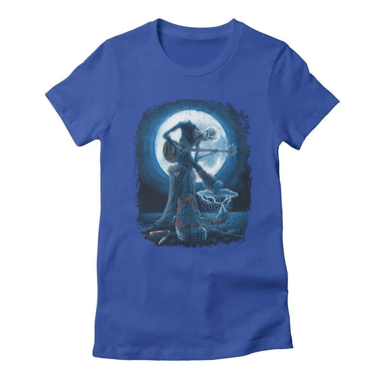 Full Moon Guitarist Blues Women's Fitted T-Shirt by Mudge Studios