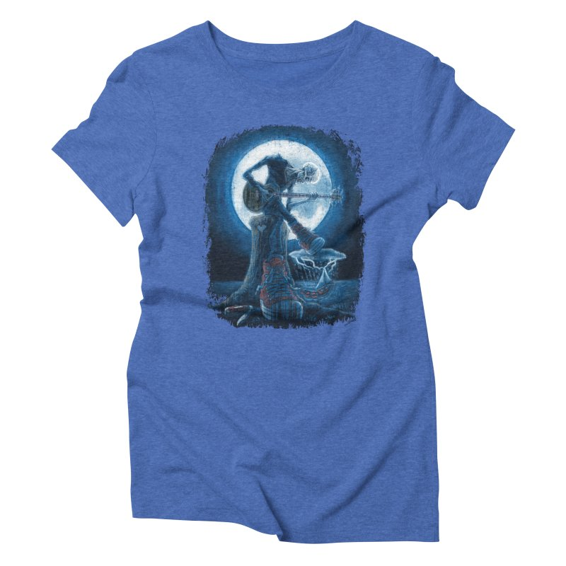 Full Moon Guitarist Blues Women's Triblend T-Shirt by Mudge Studios
