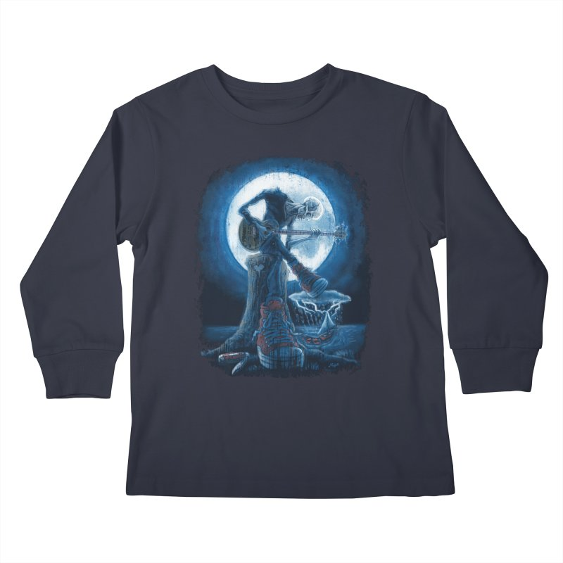Full Moon Guitarist Blues Kids Longsleeve T-Shirt by Mudge Studios