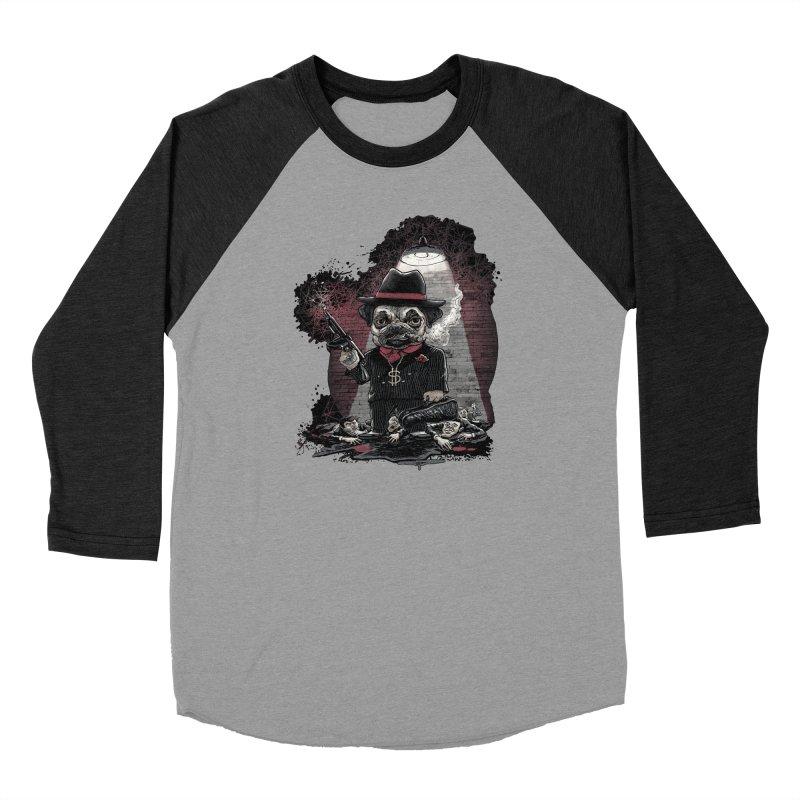 Pugnacious Gangster Pug Women's Baseball Triblend Longsleeve T-Shirt by Mudge Studios
