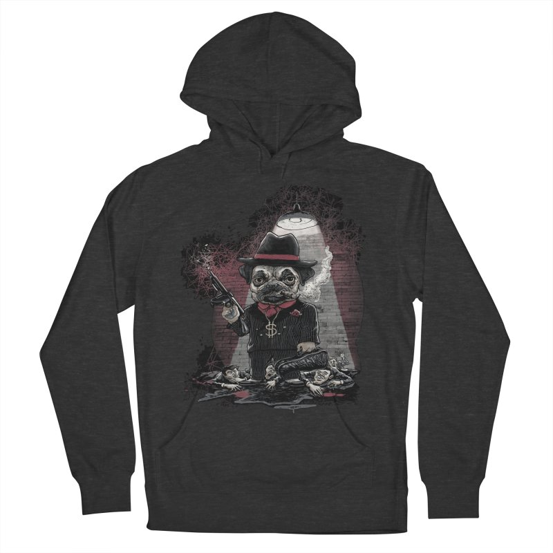 Pugnacious Gangster Pug Women's French Terry Pullover Hoody by Mudge Studios