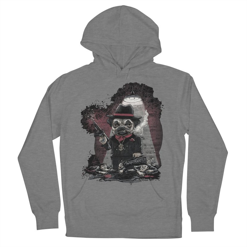 Pugnacious Gangster Pug Men's French Terry Pullover Hoody by Mudge Studios