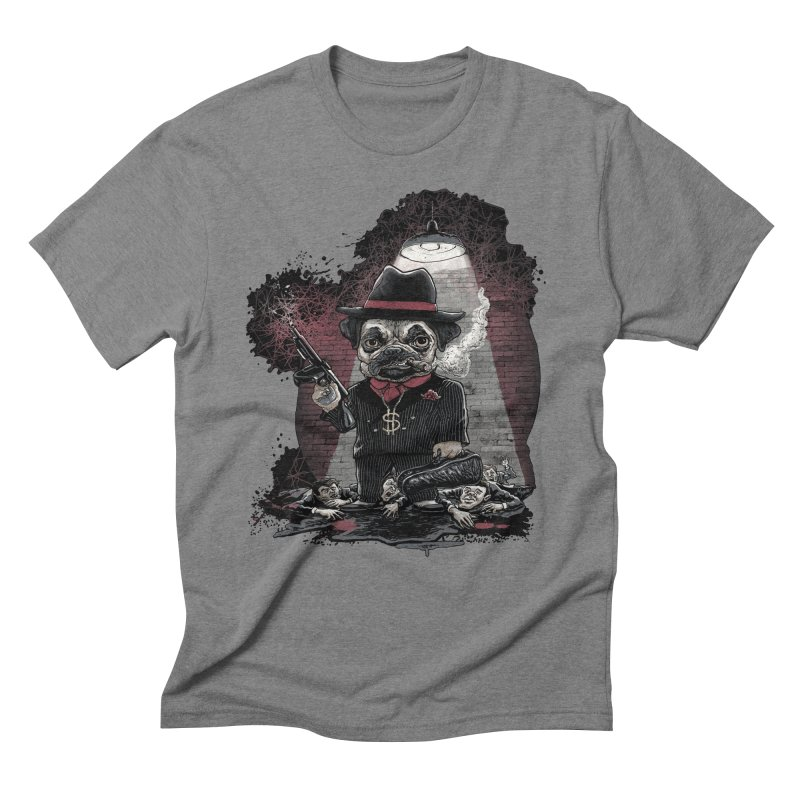 Pugnacious Gangster Pug Men's Triblend T-Shirt by Mudge Studios