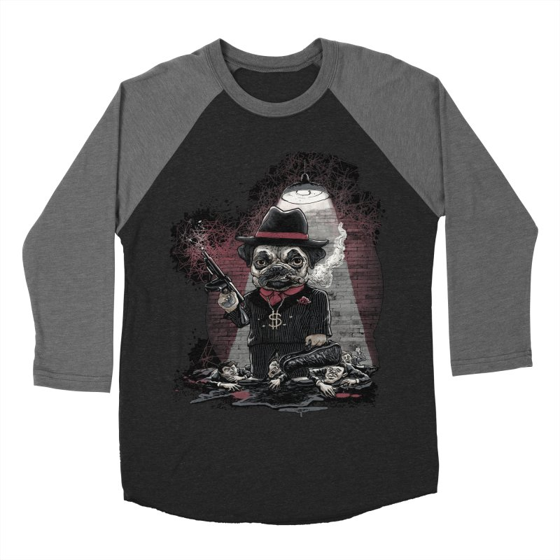 Pugnacious Gangster Pug Men's Baseball Triblend T-Shirt by Mudge Studios