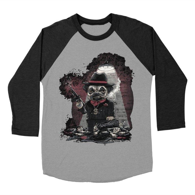 Pugnacious Gangster Pug Men's Baseball Triblend T-Shirt by Mudge Studios