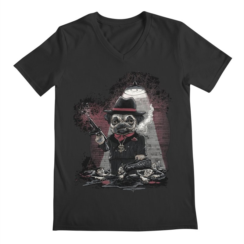 Pugnacious Gangster Pug Men's Regular V-Neck by Mudge Studios