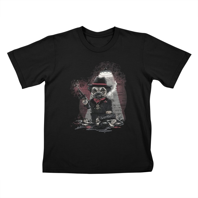 Pugnacious Gangster Pug Kids T-Shirt by Mudge Studios