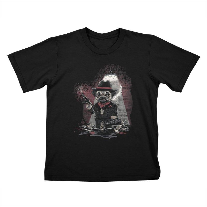 Pugnacious Gangster Pug Kids T-shirt by Mudge Studios