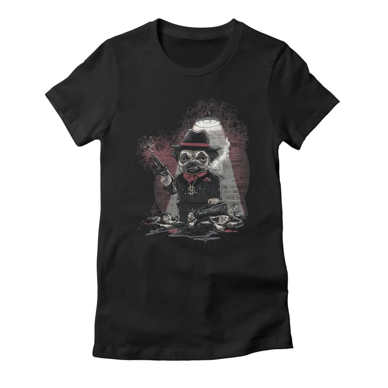 Pugnacious Gangster Pug Women's Fitted T-Shirt by Mudge Studios