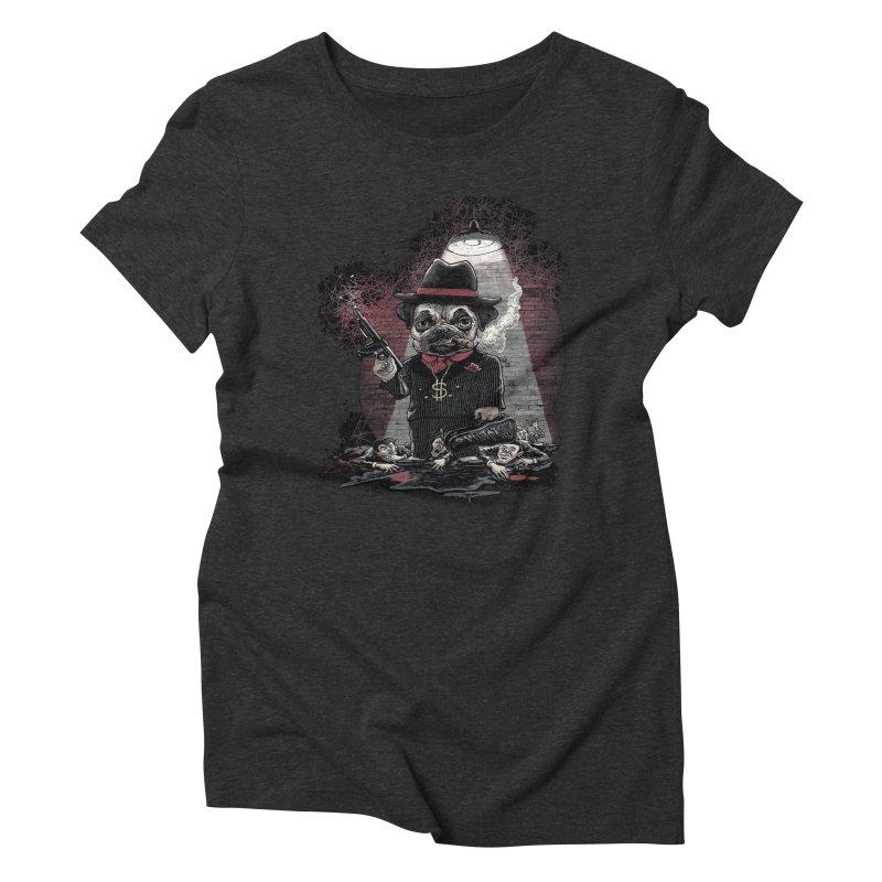 Pugnacious Gangster Pug Women's Triblend T-Shirt by Mudge Studios