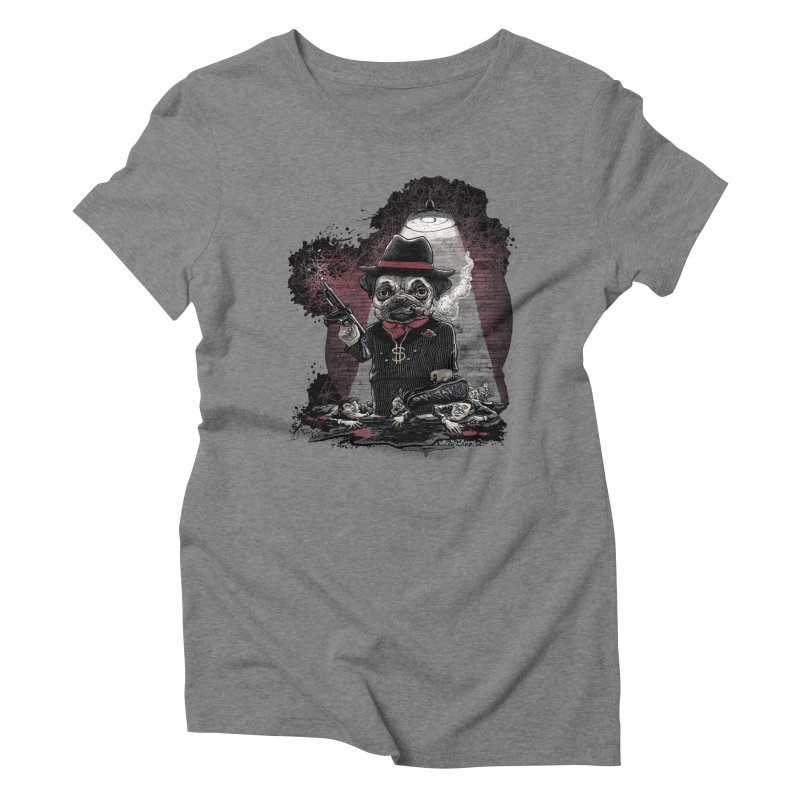 Pugnacious Gangster Pug Women's Triblend T-Shirt by Mudge Studios