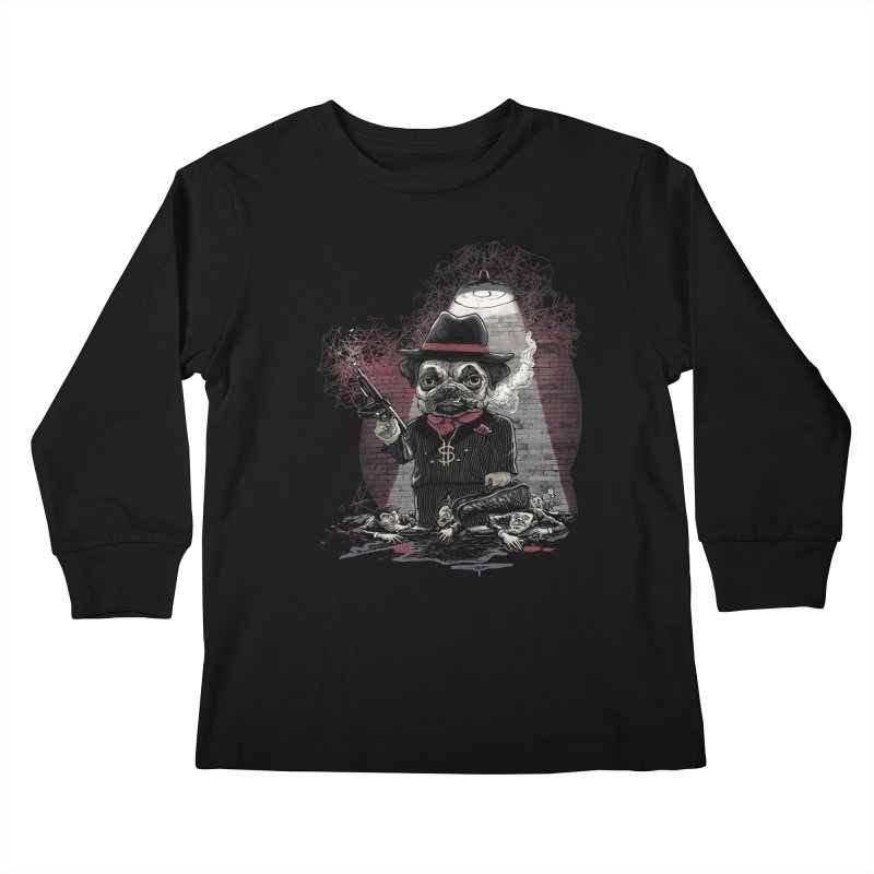Pugnacious Gangster Pug Kids Longsleeve T-Shirt by Mudge Studios