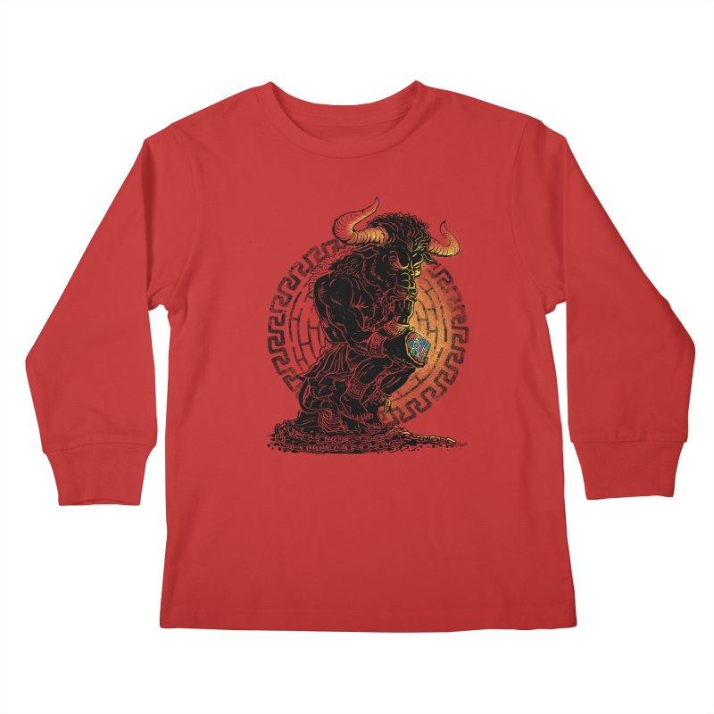 Minotaur Cube Kids Longsleeve T-Shirt by Mudge Studios