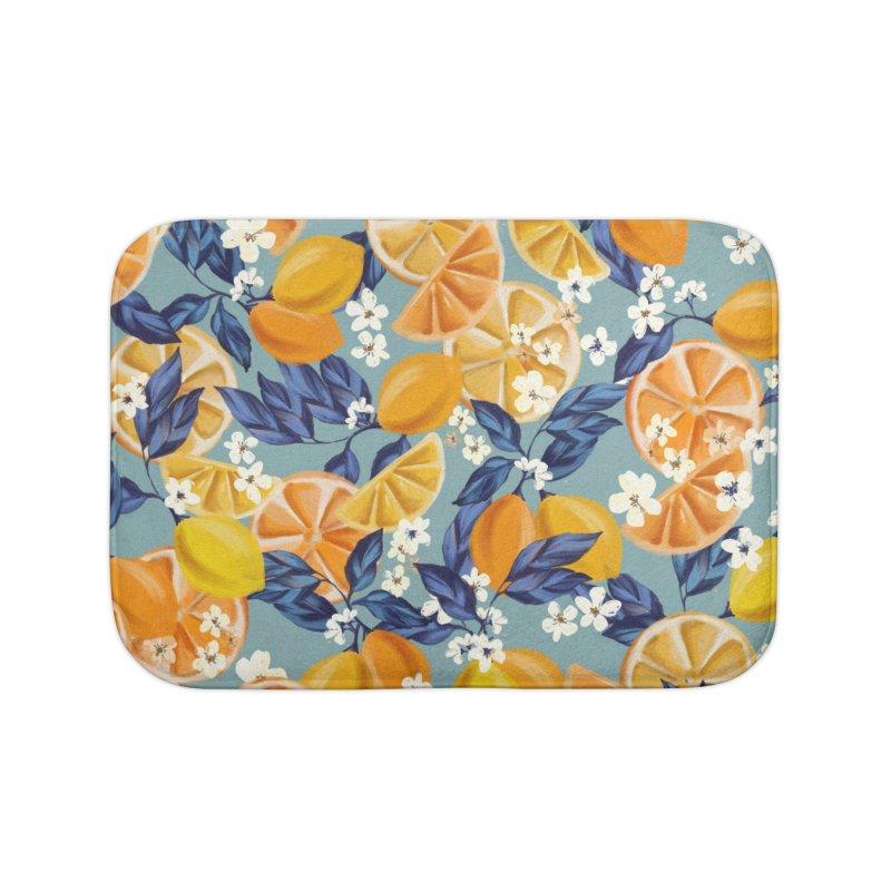 Lemon Crush Home Bath Mat by mukta lata barua's Artist Shop