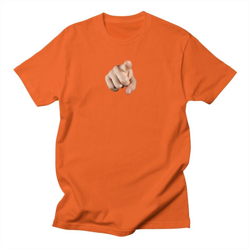 Pointing the Finger in Men's Regular T-Shirt Orange Poppy by multipleshirts
