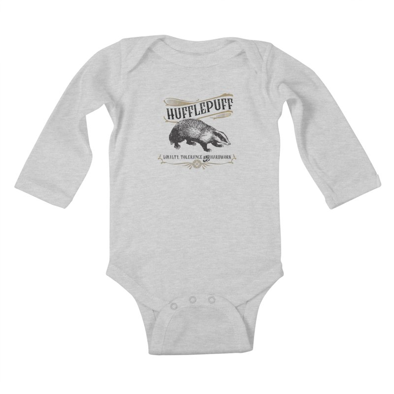 House of Hufflepuff Kids Baby Longsleeve Bodysuit by Wicked and Wonder