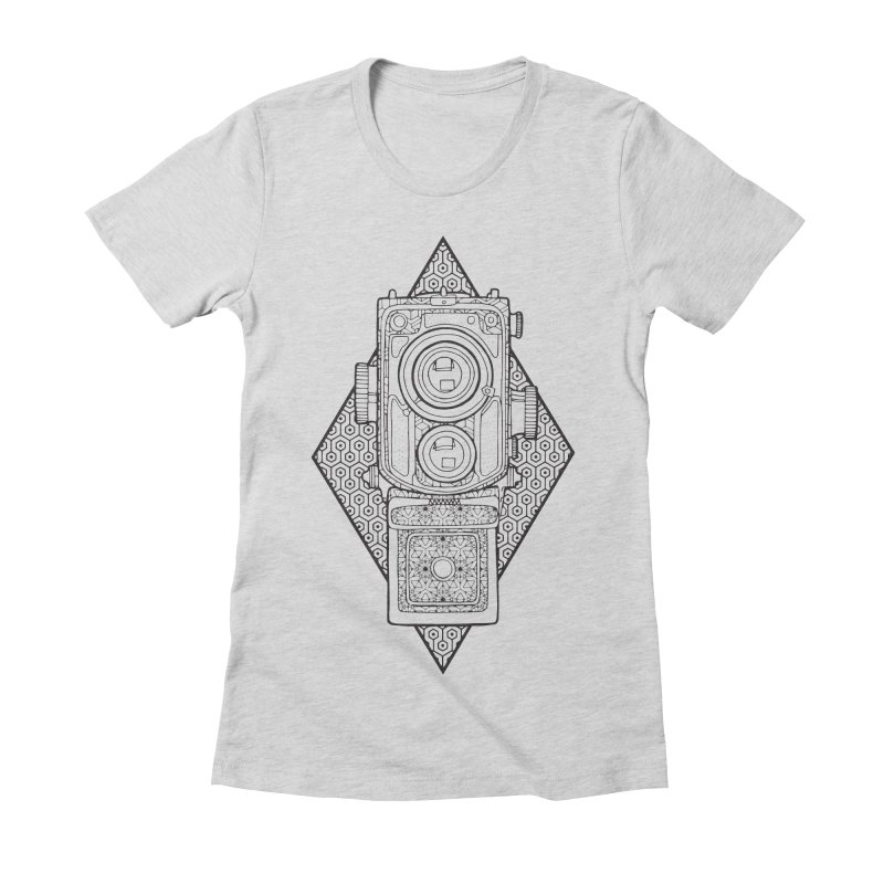Camera line work Women's Fitted T-Shirt by MunkyDesign