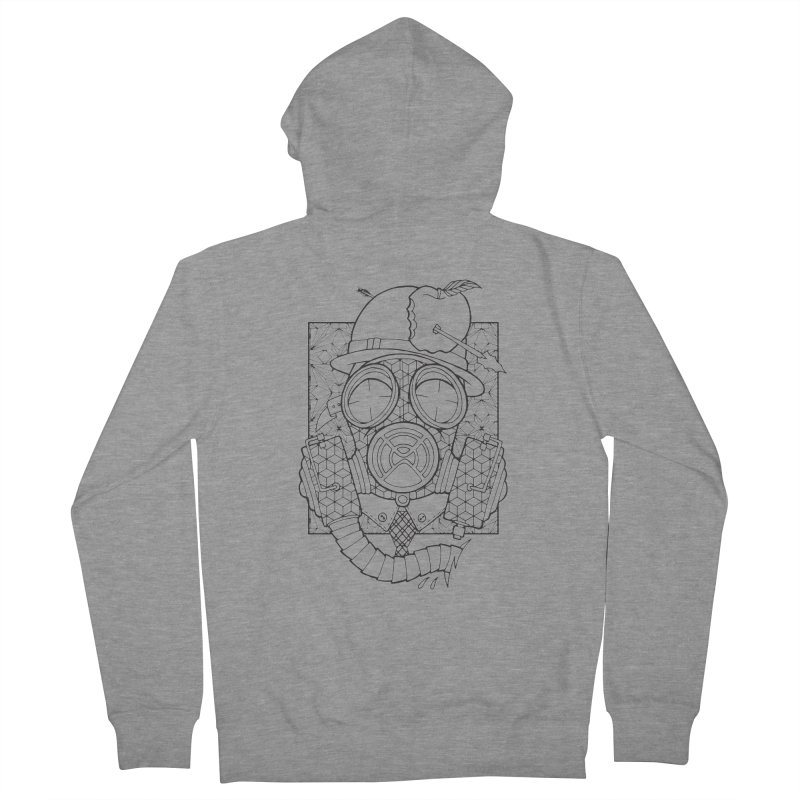 Gasmask lines Men's French Terry Zip-Up Hoody by MunkyDesign