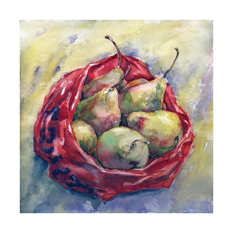 Pears in a red plastic bag. Watercolor painting for print. by sleepwalker's Artist Shop