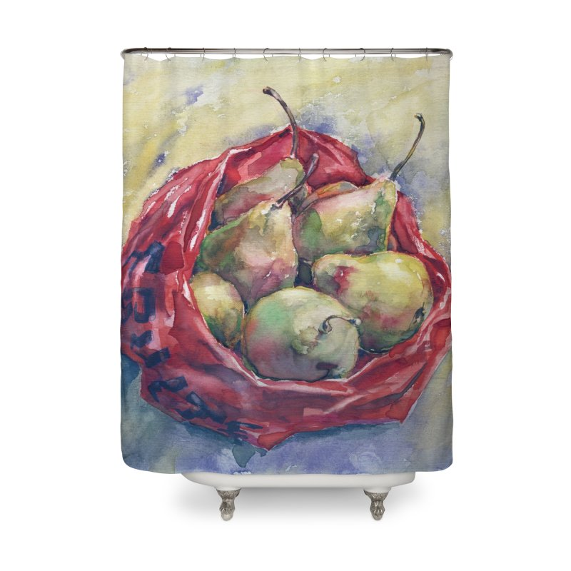 Pears in a red plastic bag. Watercolor painting for print. Home Shower Curtain by sleepwalker's Artist Shop