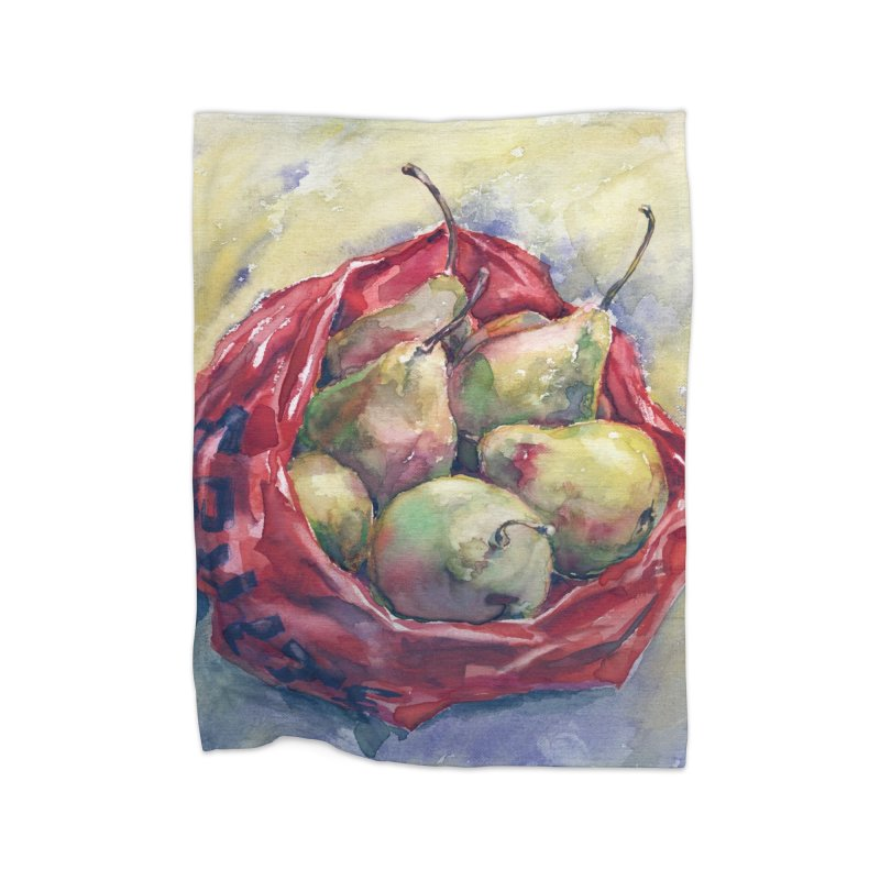 Pears in a red plastic bag. Watercolor painting for print. Home Blanket by sleepwalker's Artist Shop