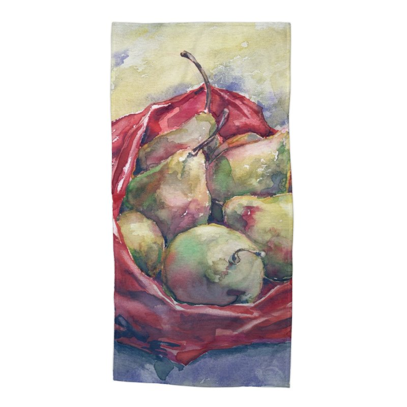 Pears in a red plastic bag. Watercolor painting for print. Accessories Beach Towel by sleepwalker's Artist Shop