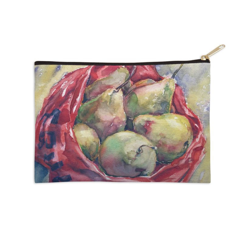 Pears in a red plastic bag. Watercolor painting for print. Accessories Zip Pouch by sleepwalker's Artist Shop