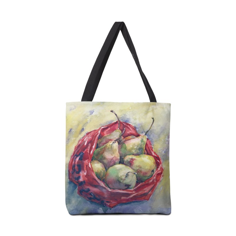 Pears in a red plastic bag. Watercolor painting for print. Accessories Bag by sleepwalker's Artist Shop