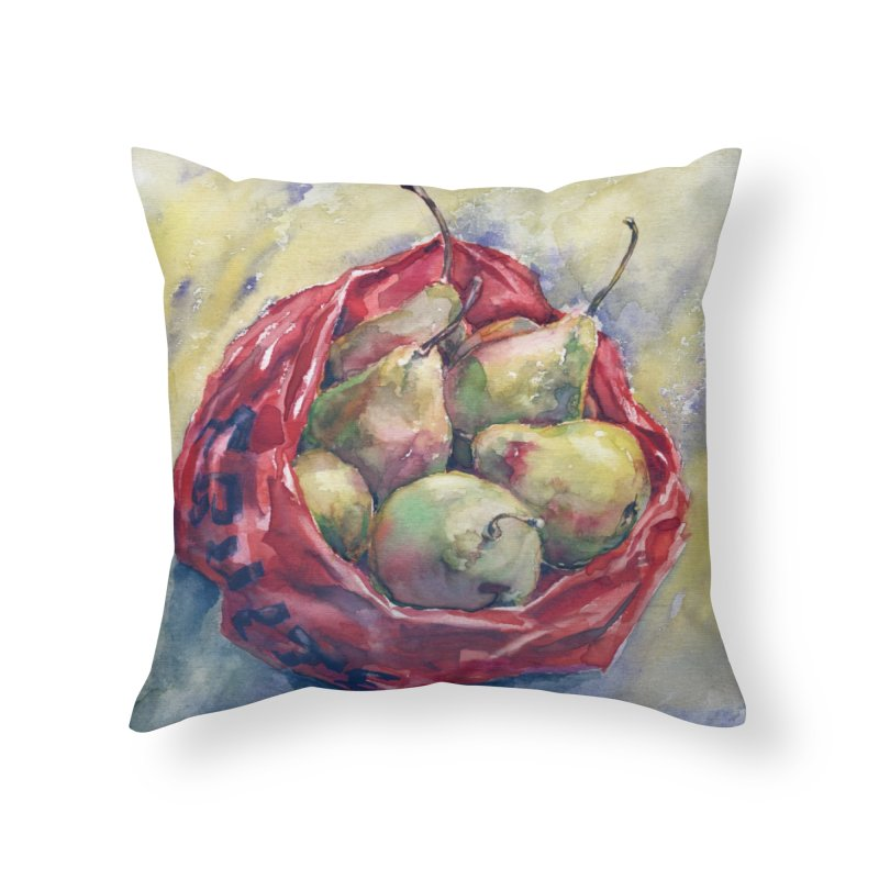 Pears in a red plastic bag. Watercolor painting for print. Home Throw Pillow by sleepwalker's Artist Shop