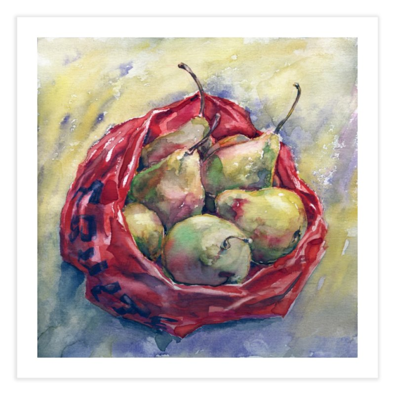Pears in a red plastic bag. Watercolor painting for print. Home Fine Art Print by sleepwalker's Artist Shop