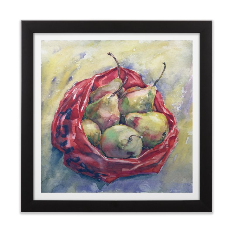 Pears in a red plastic bag. Watercolor painting for print. Home Framed Fine Art Print by sleepwalker's Artist Shop