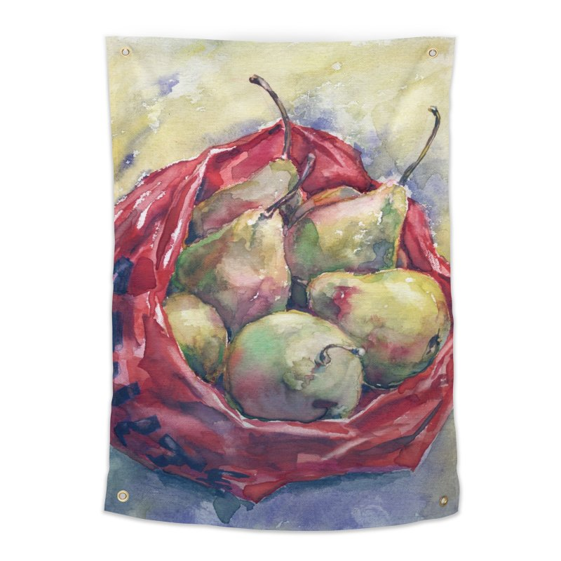 Pears in a red plastic bag. Watercolor painting for print. Home Tapestry by sleepwalker's Artist Shop