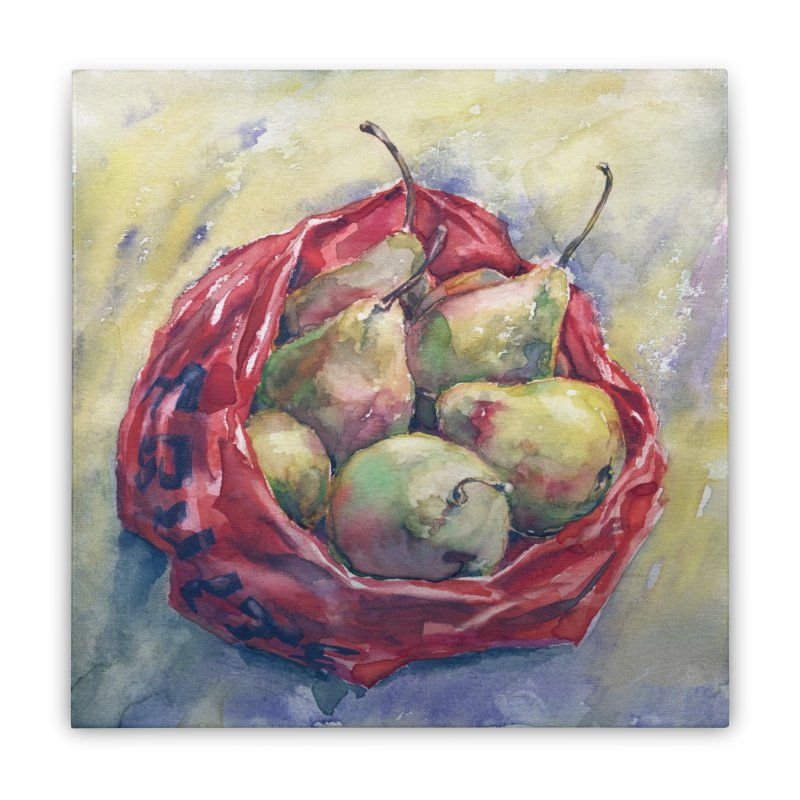 Pears in a red plastic bag. Watercolor painting for print. Home Stretched Canvas by sleepwalker's Artist Shop