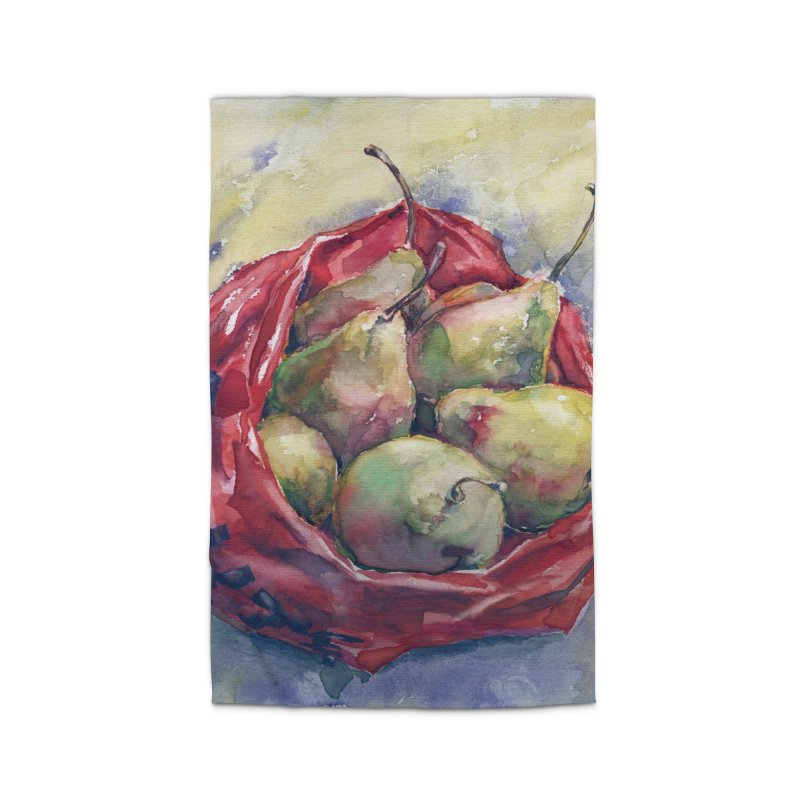Pears in a red plastic bag. Watercolor painting for print. Home Rug by sleepwalker's Artist Shop