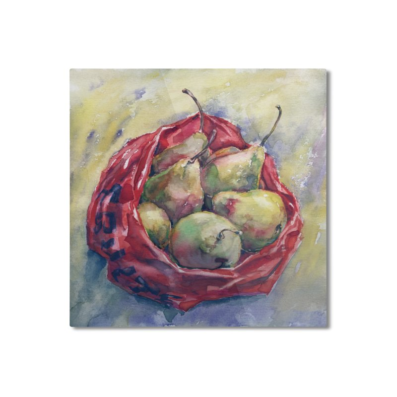 Pears in a red plastic bag. Watercolor painting for print. Home Mounted Aluminum Print by sleepwalker's Artist Shop