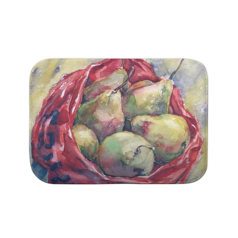 Pears in a red plastic bag. Watercolor painting for print. Home Bath Mat by sleepwalker's Artist Shop